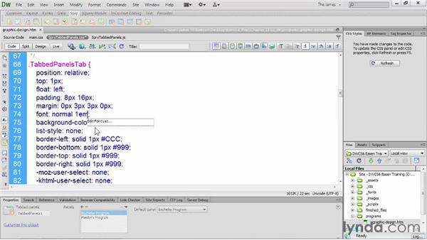 Adding Spry effects : Dreamweaver CS6 Essential Training