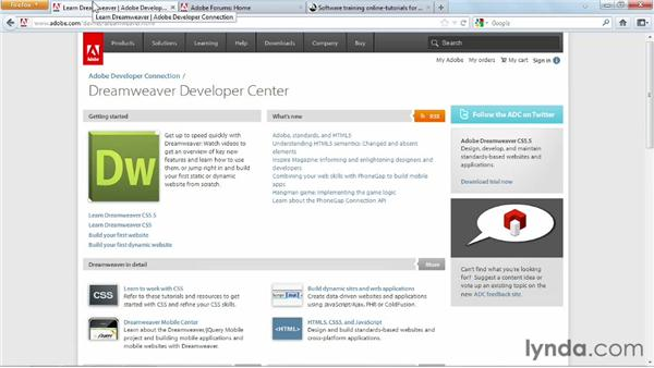 Additional resources: Dreamweaver CS6 Essential Training