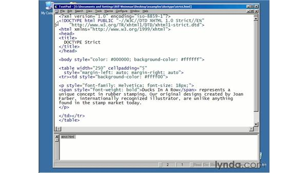 structure of an XHTML document: XHTML Essential Training