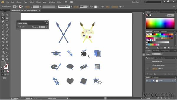 Using the Magic Wand tool: Illustrator CS6 Essential Training