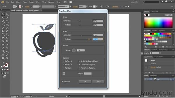 Repeating transformations: Illustrator CS6 Essential Training