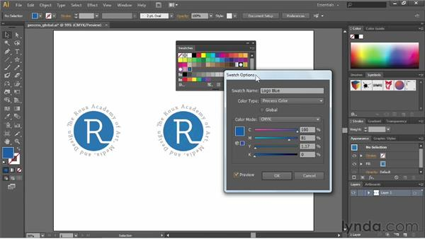 Process vs. global swatches: Illustrator CS6 Essential Training
