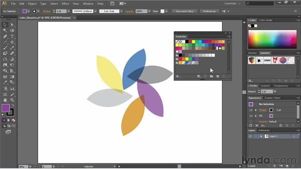 Importing swatches: Illustrator CS6 Essential Training