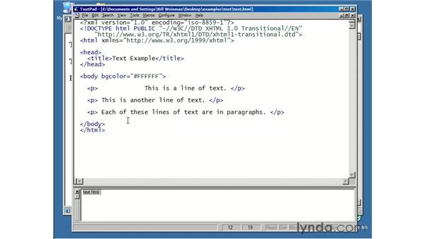 XHTML and text: XHTML Essential Training
