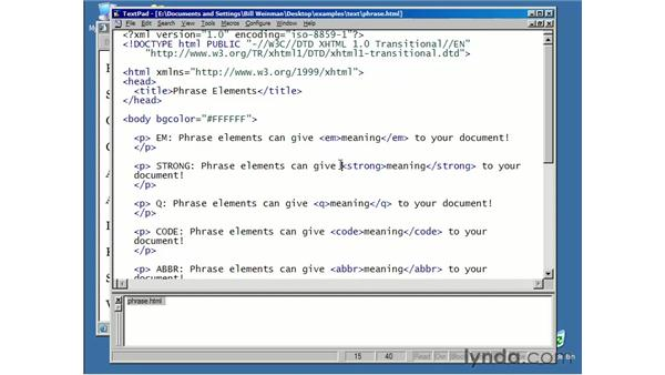 phrase elements: XHTML Essential Training