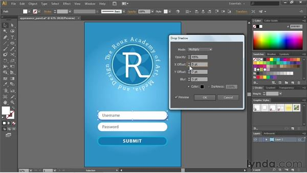 Adjusting appearance with live effects: Illustrator CS6 Essential Training