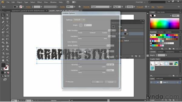 Saving appearances as graphic styles: Illustrator CS6 Essential Training