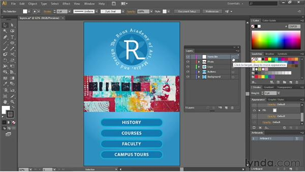 Exploring the Layers panel: Illustrator CS6 Essential Training