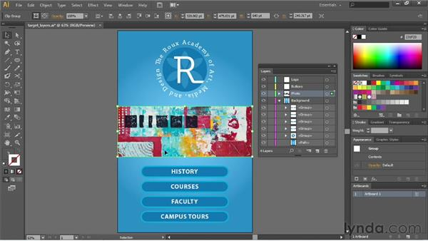 Targeting objects in the Layers panel: Illustrator CS6 Essential Training