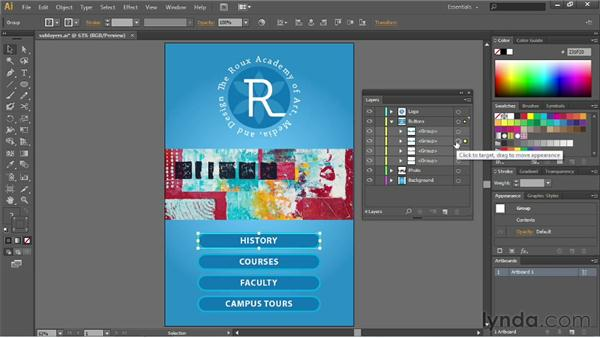 Working with sublayers: Illustrator CS6 Essential Training