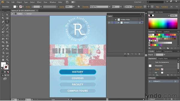 Hiding, locking, and deleting layers: Illustrator CS6 Essential Training