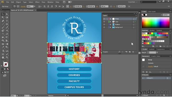 Using the Layers panel menu: Illustrator CS6 Essential Training