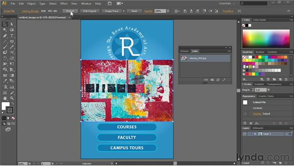 Embedding images into Illustrator: Illustrator CS6 Essential Training