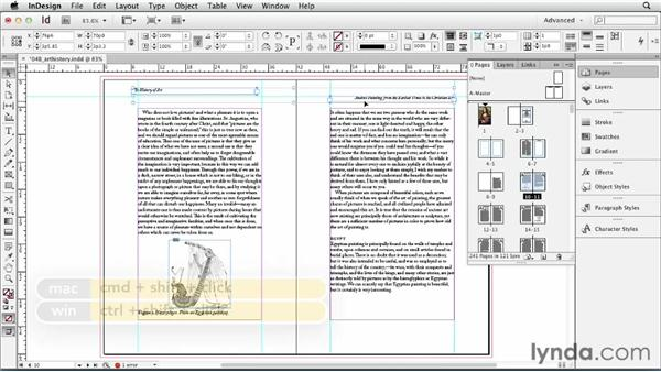 Overriding master page items: InDesign CS6 Essential Training