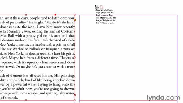 Threading text frames: InDesign CS6 Essential Training