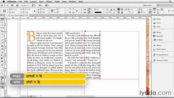 Setting text frame columns: InDesign CS6 Essential Training