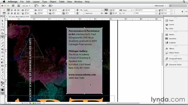 Setting text inset and vertical justification options: InDesign CS6 Essential Training