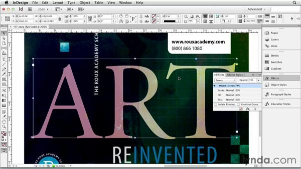 Adjusting transparency: InDesign CS6 Essential Training