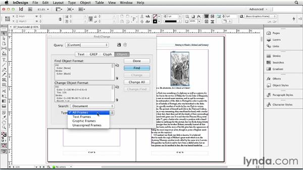 Finding and changing object formatting: InDesign CS6 Essential Training