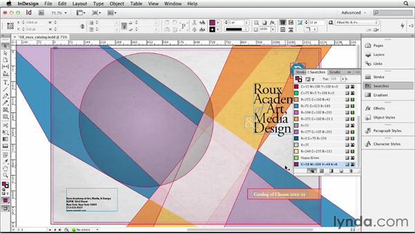 Creating color swatches: InDesign CS6 Essential Training