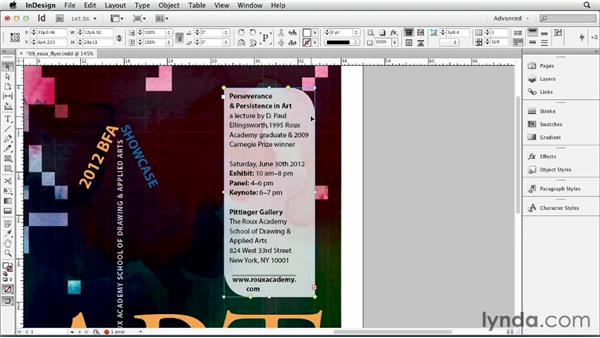 Adding rounded corners and other corner options: InDesign CS6 Essential Training