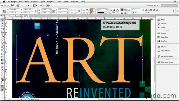 Creating text outlines: InDesign CS6 Essential Training