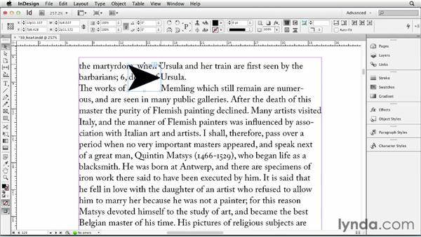 Using anchored objects: InDesign CS6 Essential Training