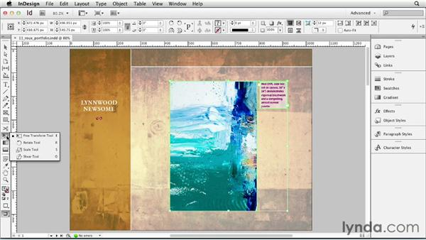 Skewing objects: InDesign CS6 Essential Training