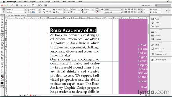 Applying basic character styling: InDesign CS6 Essential Training