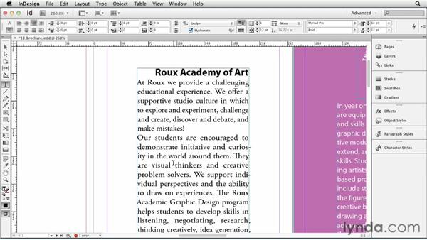 Applying formatting to a paragraph: InDesign CS6 Essential Training