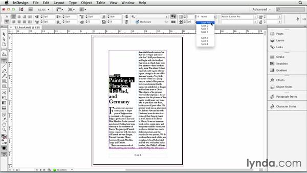 Spanning a paragraph across multiple columns: InDesign CS6 Essential Training