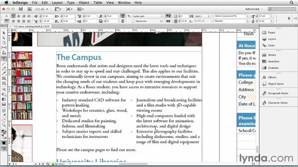 Splitting a paragraph into multiple columns: InDesign CS6 Essential Training