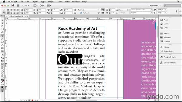 Using drop caps: InDesign CS6 Essential Training