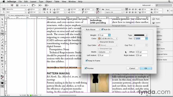 Adding rules (lines) above or below a paragraph: InDesign CS6 Essential Training