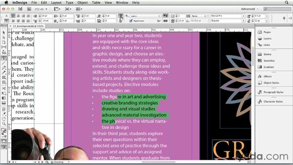 Adding automatic bullets: InDesign CS6 Essential Training