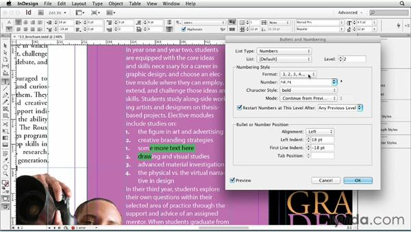 Numbering paragraphs: InDesign CS6 Essential Training