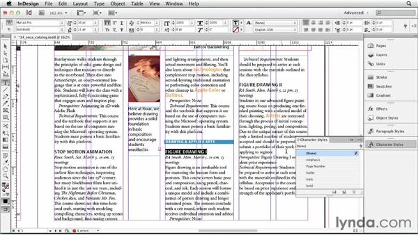 Using character styles: InDesign CS6 Essential Training