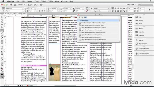 Applying styles with Quick Apply: InDesign CS6 Essential Training