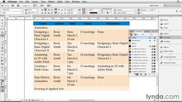 Formatting cells: InDesign CS6 Essential Training