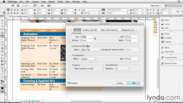 Placing graphics in cells: InDesign CS6 Essential Training