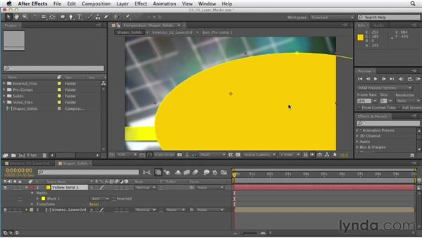 Creating layer solids and shapes with masks: After Effects CS6 Essential Training