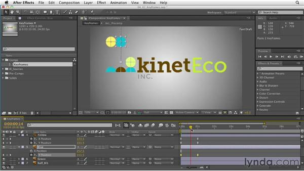 Adding and adjusting keyframes: After Effects CS6 Essential Training