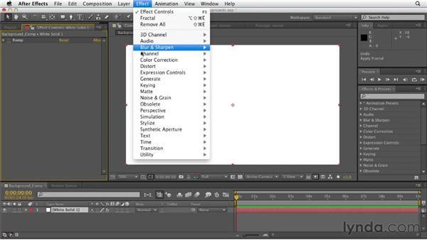 Building backgrounds with effects: After Effects CS6 Essential Training