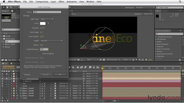 Adding lights and working with Material Options: After Effects CS6 Essential Training