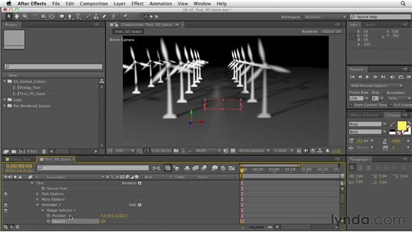 Animating type in 3D space: After Effects CS6 Essential Training