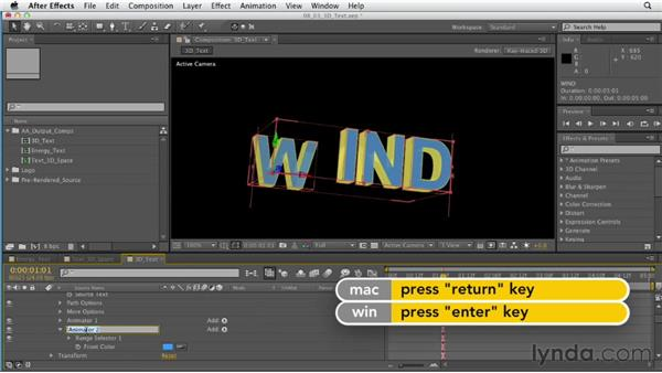 Composing 3D type: After Effects CS6 Essential Training