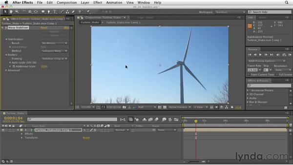 Smoothing shaky camera footage: After Effects CS6 Essential Training