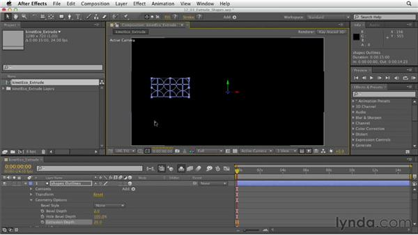 Extruding shapes: After Effects CS6 Essential Training