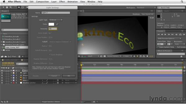 Adjusting ray-traced lighting and materials: After Effects CS6 Essential Training