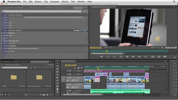 Customizing the window layout and the interface: Premiere Pro CS6 Essential Training